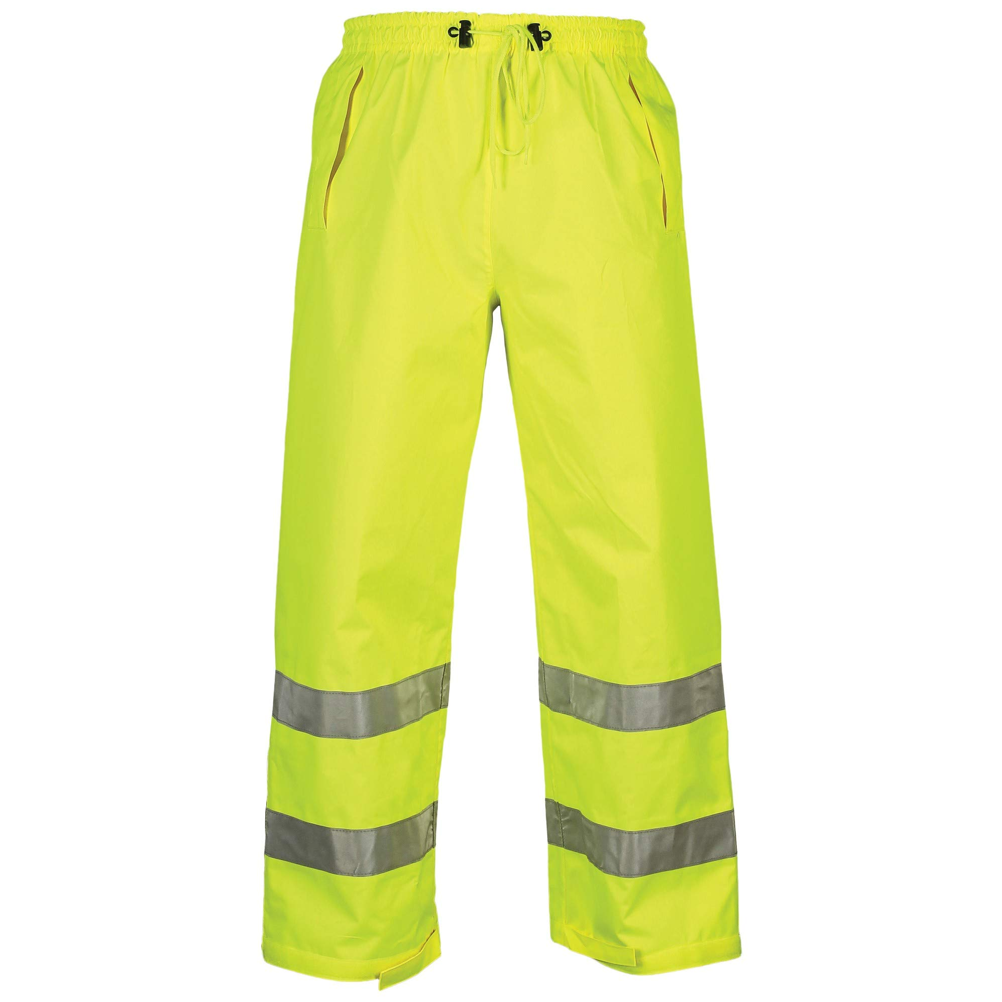High Viz Rain Pants for Men and Women Waterproof Work Wear Water Resistant Ansi Class E Two Tone (Extra Large, Lime Yellow, 1 Piece) by Brite Safety (Image #1)