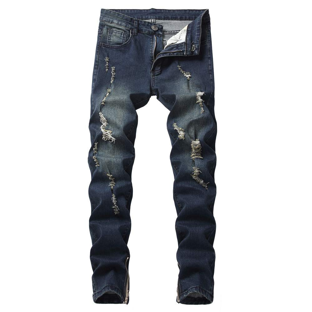VPASS Pantalones Vaqueros para Hombre,Pantalones Casuales Moda Jeans Sueltos Ocasionales El/ásticos Pantalon Fitness Pants Largos Pantalones Ropa de Hombre