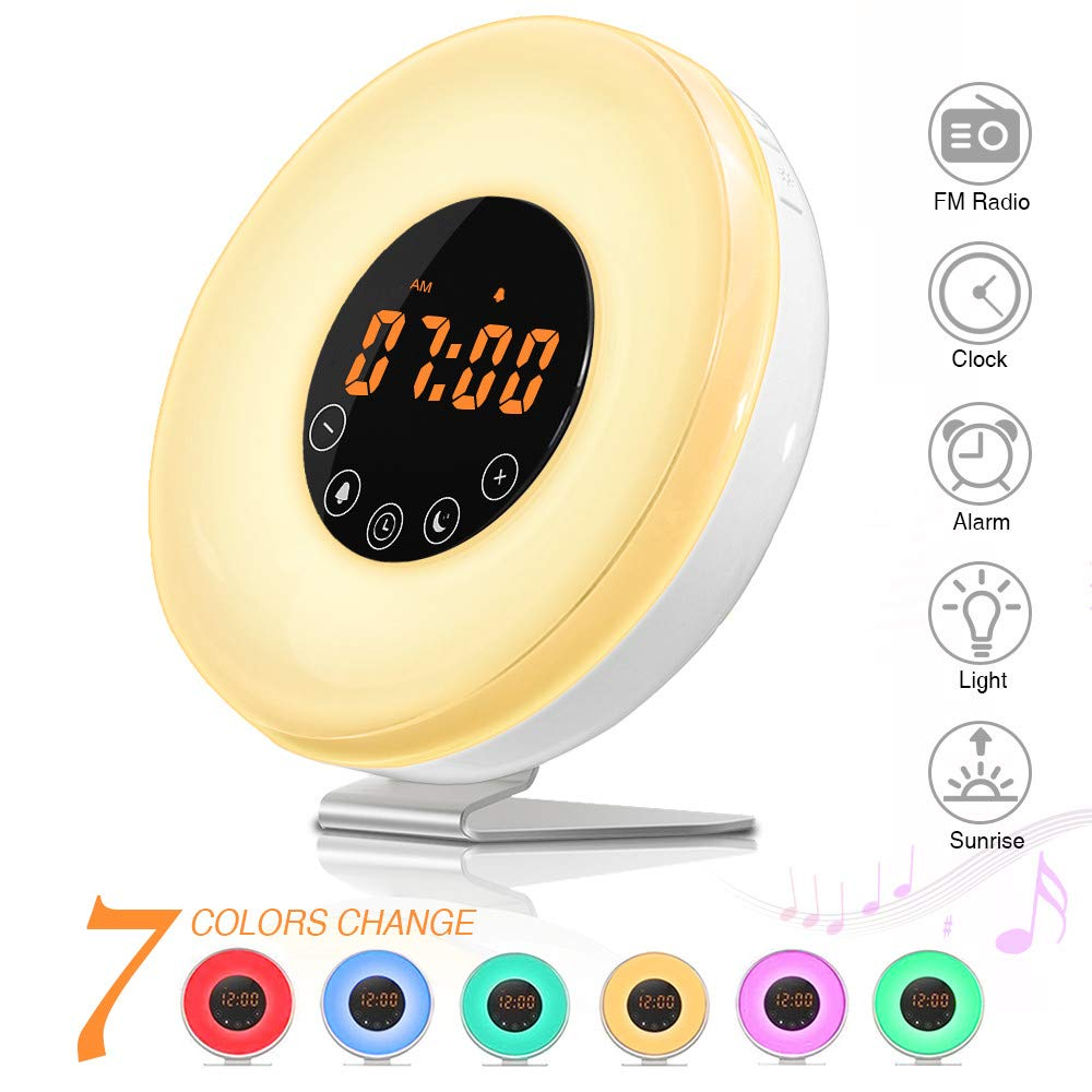 Réveil Lumière,SOLMORE Lampe de Réveil Radio FM Veilleuse Réveil Lumineux Lampe de Chevet Sunrise Sunset Simulation Snooze RGB Blanc Chaud de 10 Luminosité 6 Sonnerie Naturel avec FR Prise + Câble USB product image