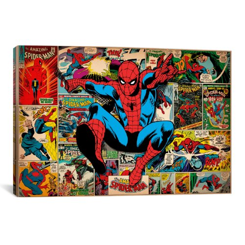 iCanvasART Marvel Comic Book Spider-Man on Spider-Man Covers and Panels Canvas Art Print, 18 by 12-Inch
