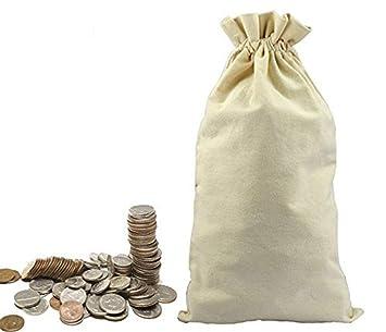 Amazon.com: lanyani 3 bolsa de lona para moneda dinero Sacos ...