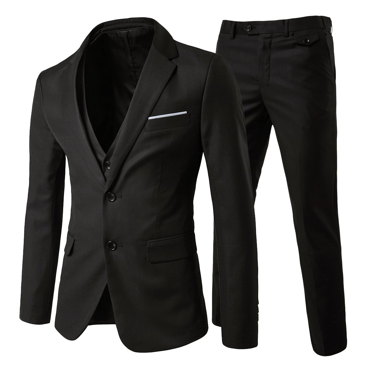 Mens Modern Fit 3-Piece Suit Blazer Jacket Tux Vest and Trousers,Black,Medium