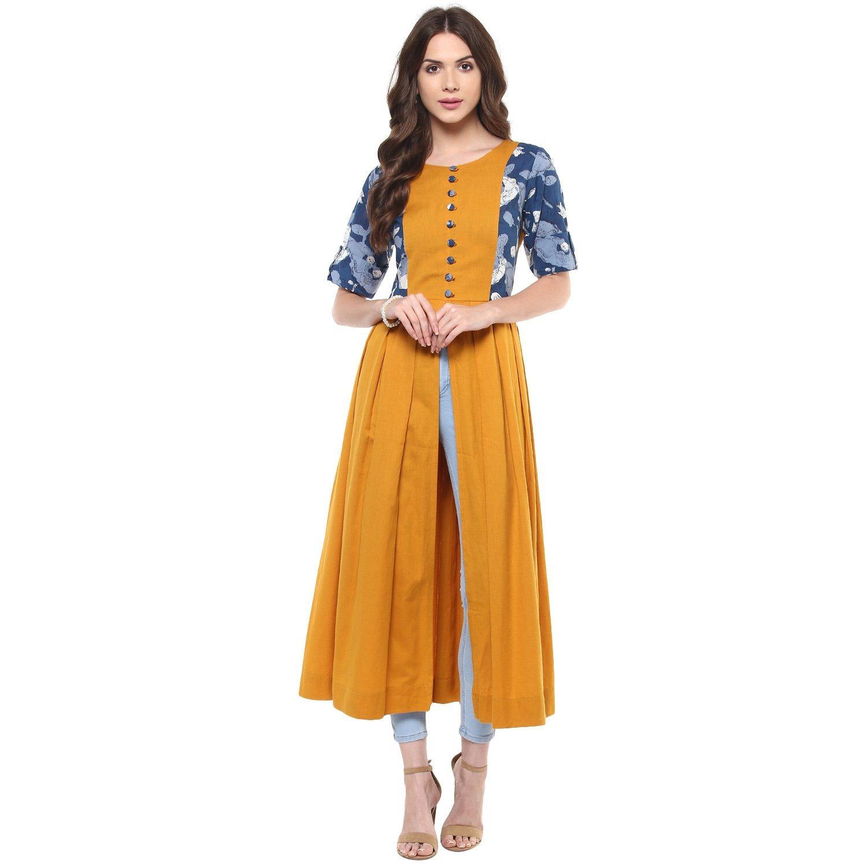Indian Virasat Women's Mustard Frontslit Long Kurta Small Yellow Tunic Kurti