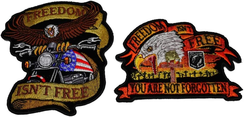 Embroidered Freedom Isn/'t Free Sew or Iron on Patch Biker Patch