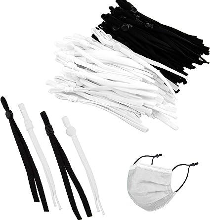 TOYMIS 100Pcs Sewing Elastic Bands with Adjustable Buckle Earloop Lanyard Earmuff Rope for DIY Craft Making Supplies 4 Styles