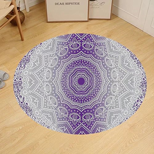 Gzhihine Custom round floor mat Grey and Purple Ombre Mandala Abstract Eastern Religious Art with Deity Art Holy Cosmos Design Bedroom Living Room Dorm Violet by Gzhihine