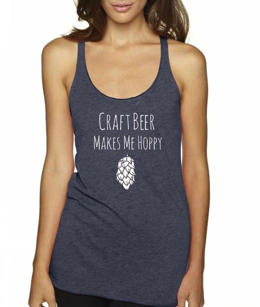 Funny Graphic Womens Racerback Workout Tank Craft Beer Makes Me Hoppy Tank Top Indigo