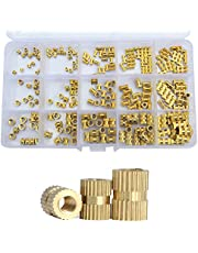 Brass Knurled Nut Female Metric Thread Insert Threaded Metal Nutsert Embedment Cylinder Injection Molding Nut Assortment Kit Set Standard Fastener Hardware 250pcs M2 M3 M4