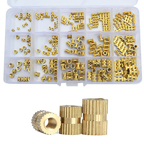 Brass Knurled Nut Metric Female Thread Insert Threaded Metal Embedment Cylinder Injection Molding Assortment Kit,250pcs (M2 M3 M4) by DANA FRED