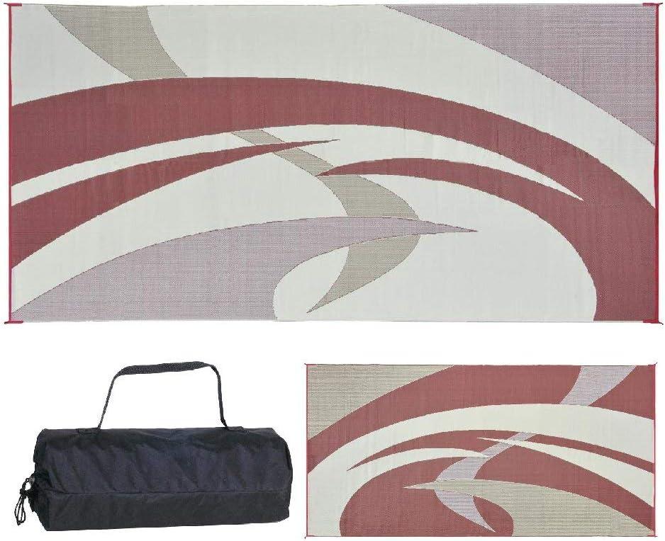 Black//White, 9-Feet x 12-Feet Swirl Renewed Reversible Mats Outdoor Patio // RV Camping Mat