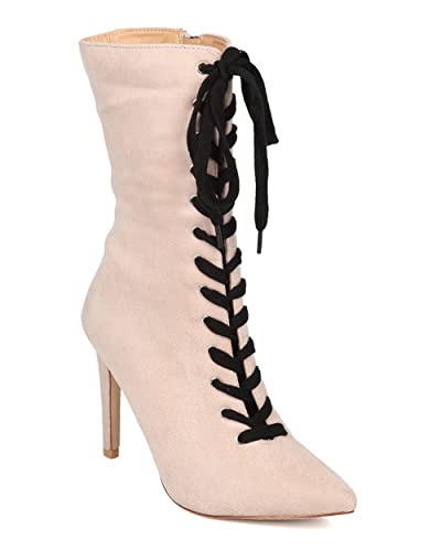 Women Lace Up Stiletto Boot - Mid Calf Heel Boot - Pointy Toe Boot - HK56 by