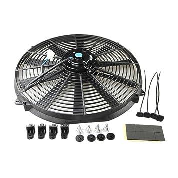 Universal Slim 16 inch Push Pull rendimiento Radiador de refrigeración del motor ventilador con Kit de