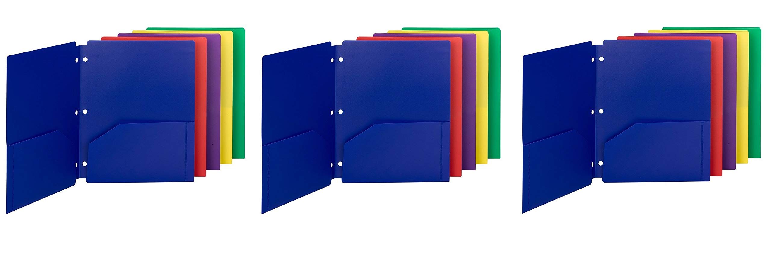Smead Poly Snap-in Two-Pocket File Folder, Letter Size, Assorted Colors, (87939) (3 X Pack of 10)