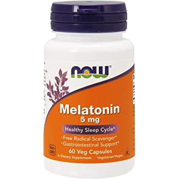 NOW Melatonin 5 mg,60 Veg Capsules