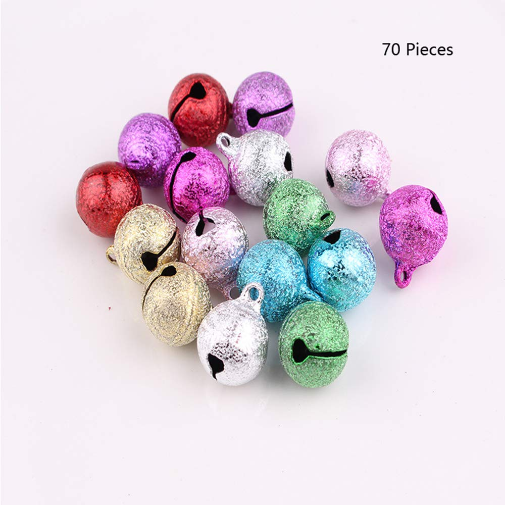 Christmas Jingle Bell Small Bell Mini Bell Metal Craft Bell Bulk for Christmas Decoration 7 Colored 70 Pieces Woofun