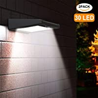 【2 Pack】30 LED Solar Light,Holan Solar Powered Security Lights Outdoor, Super Bright / Waterproof / Wireless / 120 Degree Wide Angle Motion Sensor Wall Lights for Garden, Fence, Patio, Deck, Yard, Driveway, Stairs, Outside Wall etc …