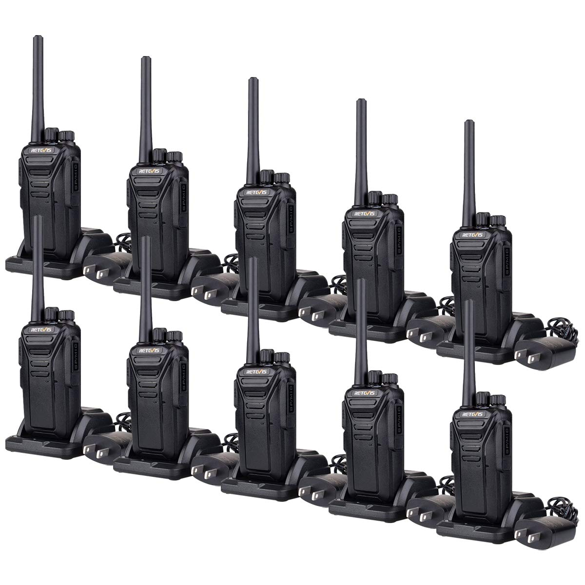 Retevis RT27 Two-Way Radios Rechargeable Long Range 2 Way Radio for Adults UHF FRS VOX Security Heavy Duty Walkie Talkies Black,10 Pack