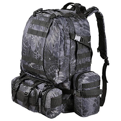 AW 55L 600D Tactical Army Rucksacks Molle Backpack Camping Outdoor Hiking Trekking Traveling Bag Black Pythons Grain (Aw Black Backpack)
