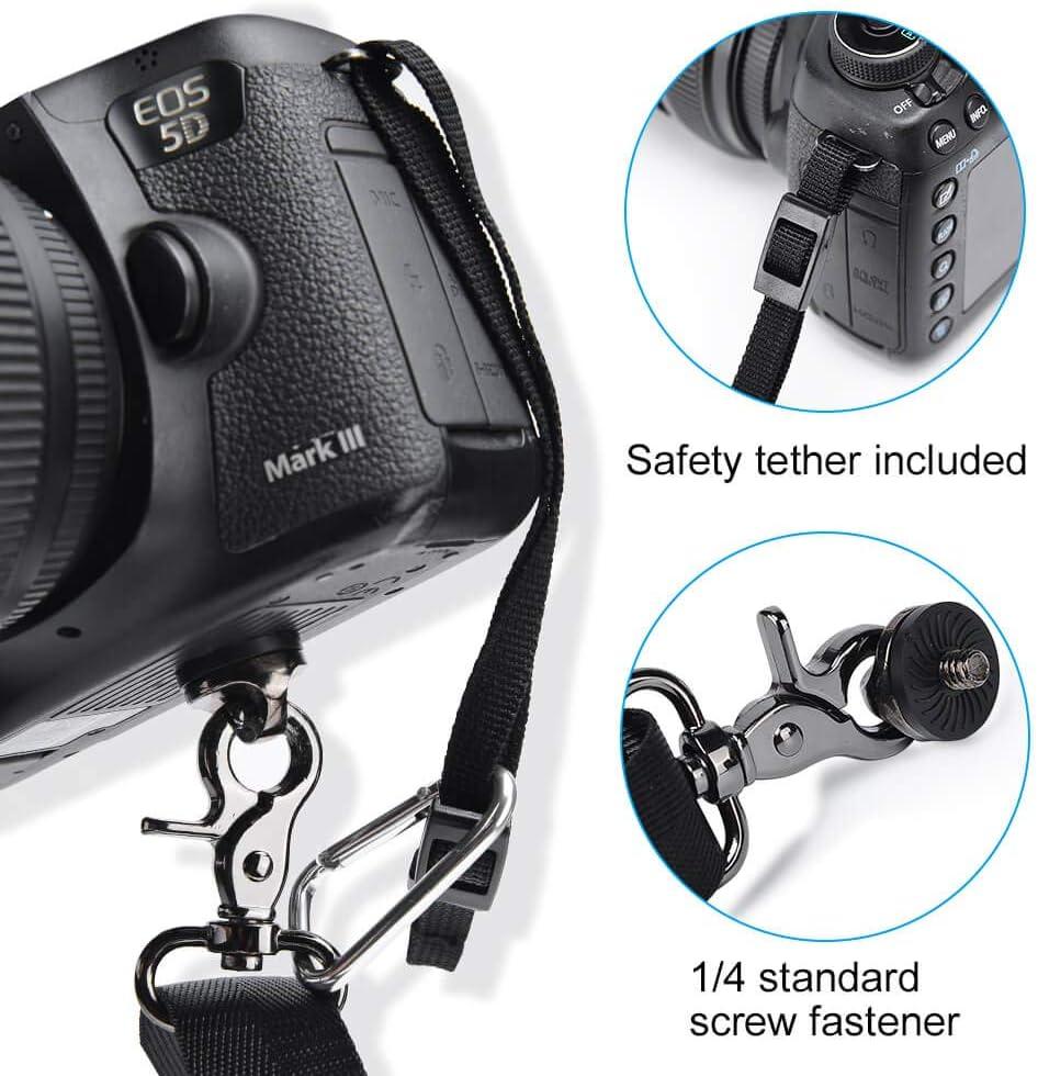 Cintino Universale per Fotocamera Canon Nikon Canon Pentax DSLR CADeN Cinghia Tracolla Fotocamera//Cinghia Collo Camera con Sgancio Rapido e Tether di Sicurezza per Fotografia Uomo Donna