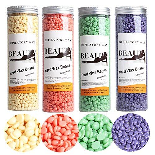 450g Tea - Perman Creamy Taste Depilatory Pearl Hard Wax Brazilian Granules Hot Film Wax Bead For Hair Removal (450g/10oz, Tea smell)