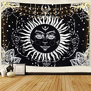 BLEUM CADE Moon and Sun Tapestry Wall Hanging Black and White Psychedelic Tapestry for Living Room Bedroom Dorm Home Decor