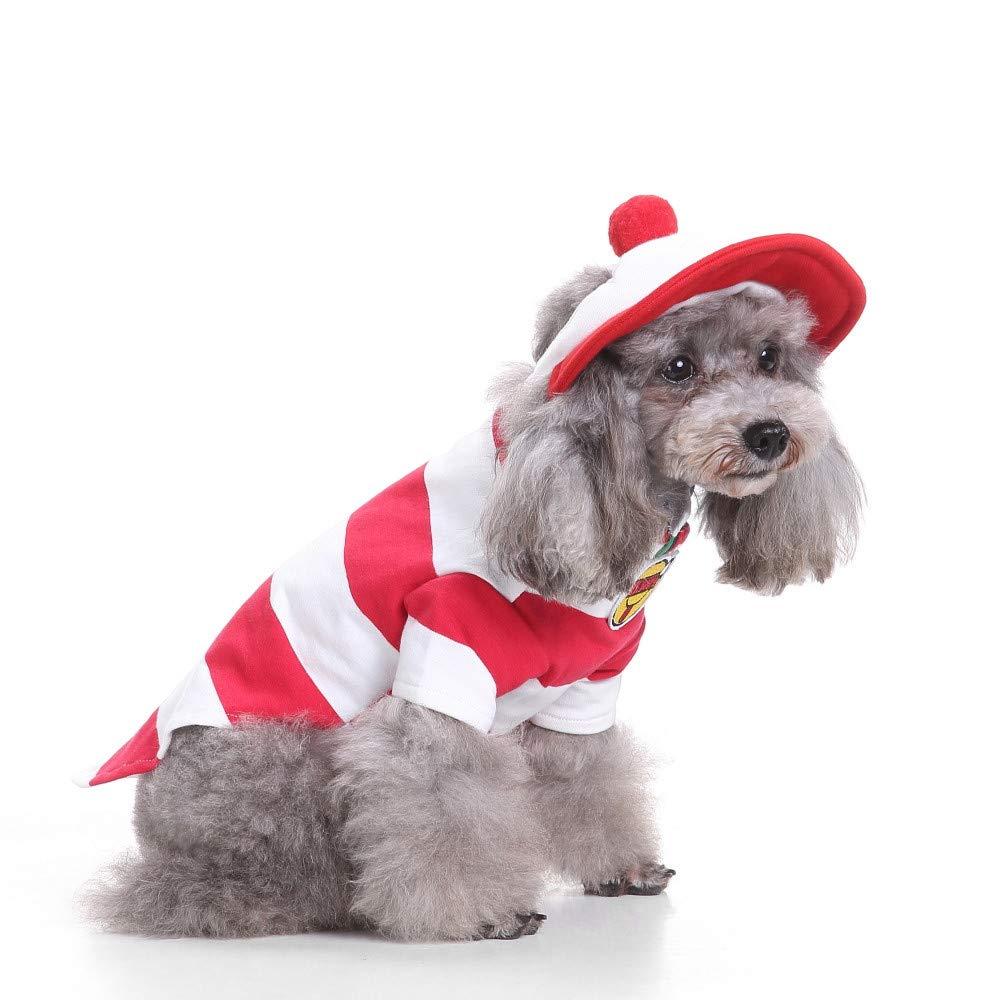 7 SBAONUAN Pet Clothes Pet Dog Clothes For Small Dogs Winter Christmas Halloween Clothes Dresses Warm Cat Coat Pumpkin Wizard Transform Funny Costume,L