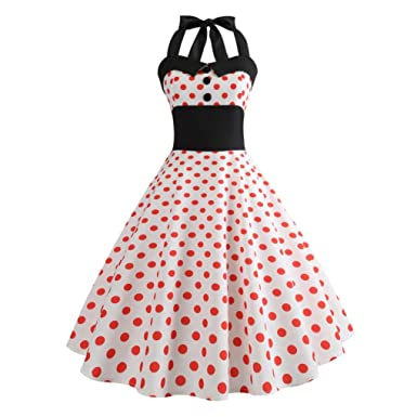 search for original hot-seeling original lovely design Pingtr 1950s Vintage Rockabilly Dresses for Women, 20s-60s Polka Dots Print  Evening Party Retro Cocktail Dresses Sleeveless Halter Evening Party Prom  ...