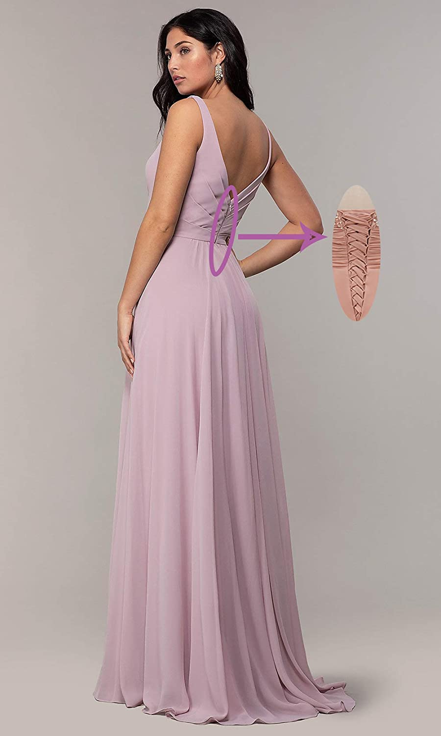 Beauty Bridal Womens V Neck Chiffon A Line Ruched Bridesmaid Dress Long Evening Prom Party Formal Gown Z44