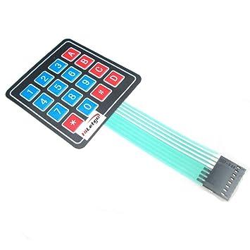 HiLetgo® 5 piezas de alta calidad 4 x 4 Matrix Array 16 teclas interruptor de membrana teclado: Amazon.es: Electrónica