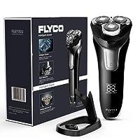 FLYCO Afeitadora Electrica Hombre, Máquina de Afeitar Inteligente con Display Digital, Uso en Húmedo y Seco, Cerradura Inteligente con Funda de Viaje, Adaptador USB con Base de Carga