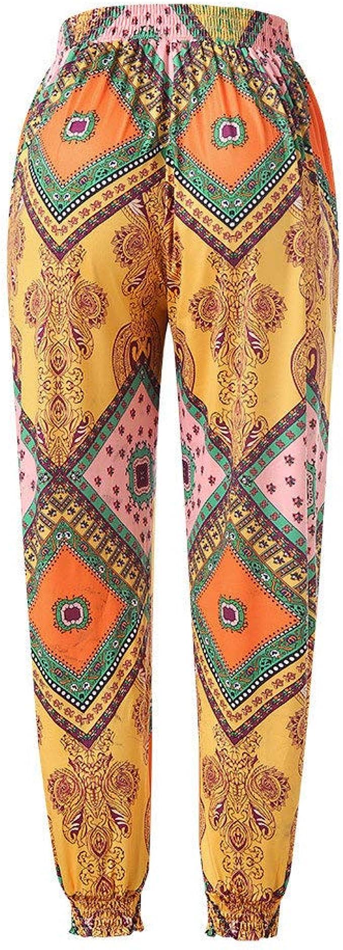 Innerternet Sarouel Femme /éLastique Taille Haute Pantalon Large De Yoga Boho Chic Pants Aladin Bouffant /éVas/é Classique Danse L/éGer Pantalons Large Fluide /éT/é Sarouel Sport Pants