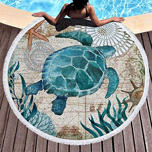 IcosaMro Round Beach Towel Turtle Microfiber Beach Blanket Blue Ocean Sea Turtle Large Roundie Lightweight Beach Towel for Kids Women Men Boy Girl, 59x59