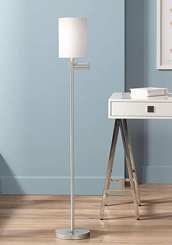 Modern Swing Arm Floor Lamp Brushed Nickel White Cotton Cylinder Shade