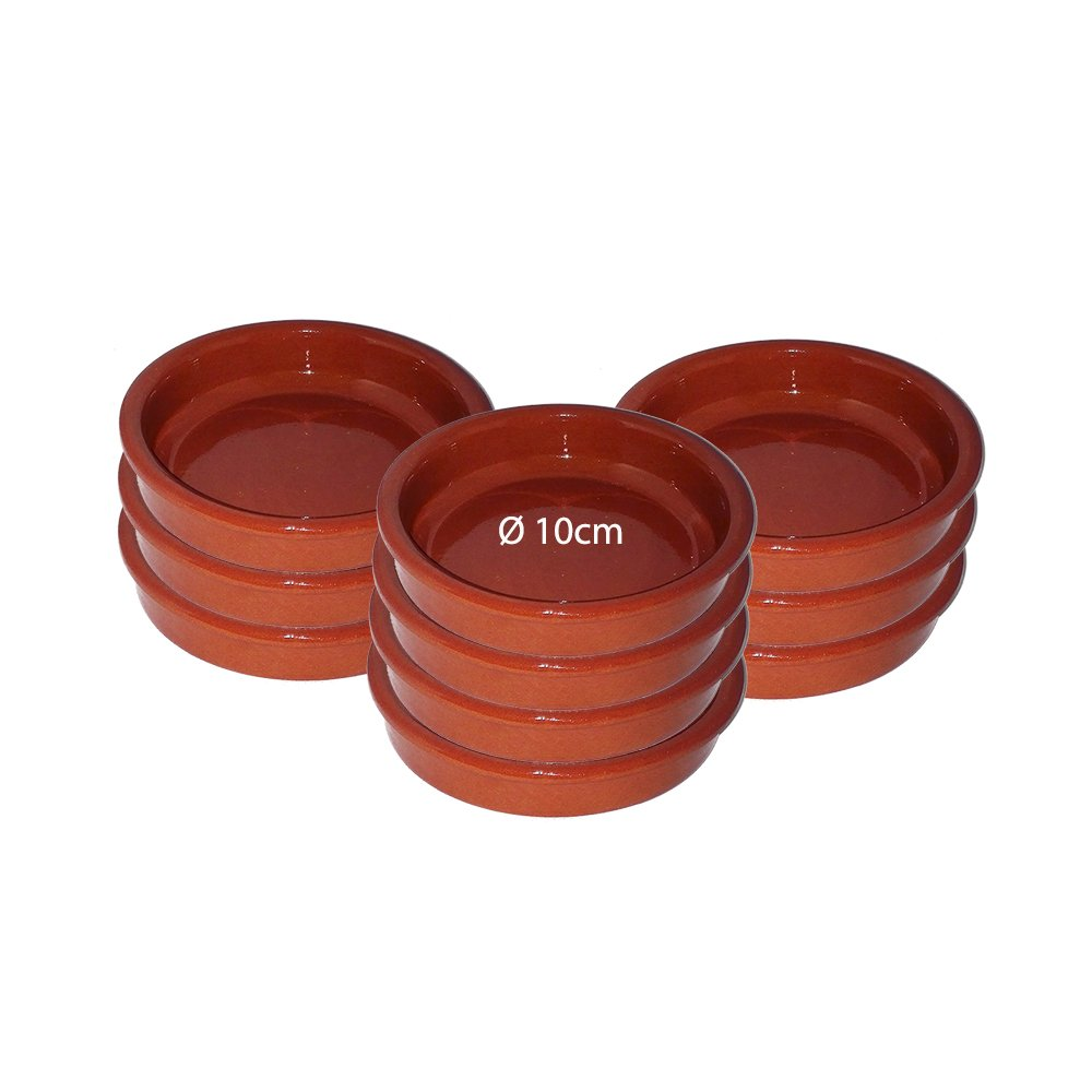 Terracotta Set of 10x10cm Rustic Cazuela Clay Pans Hermanos Vinagre Alfareros