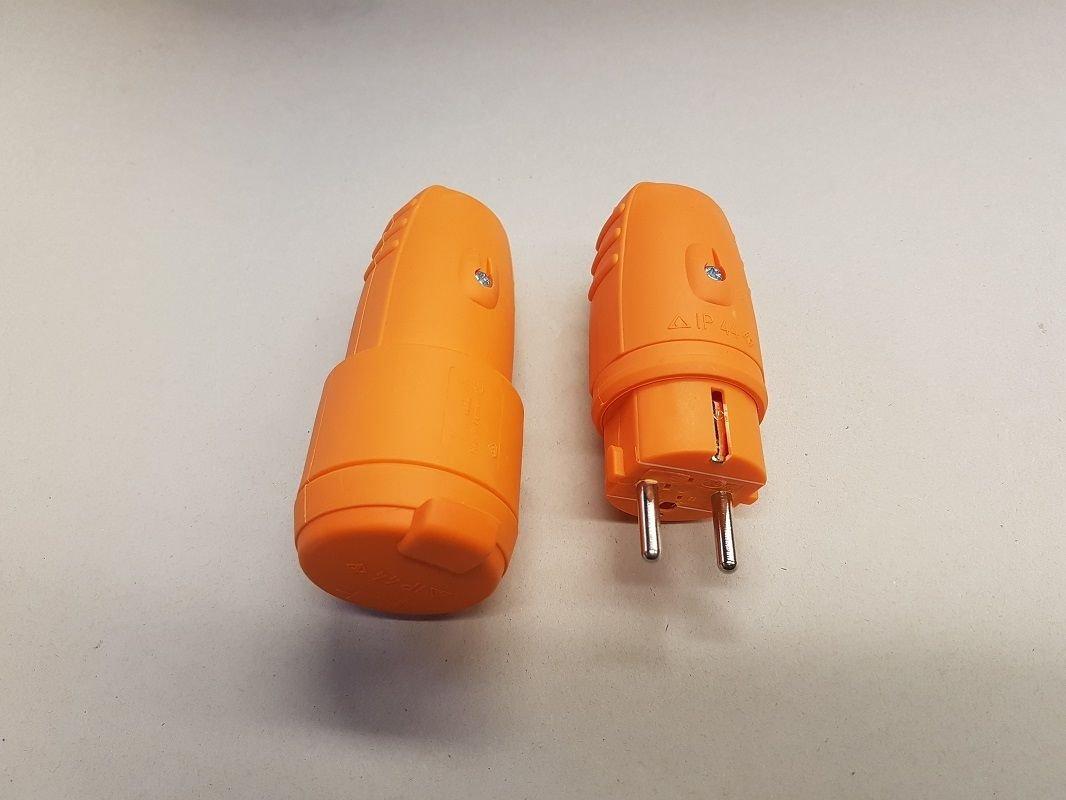 Gummikupplung IP44 Schuko Stecker Schukostecker 230V Farbe Gelb Rot Blau Orange