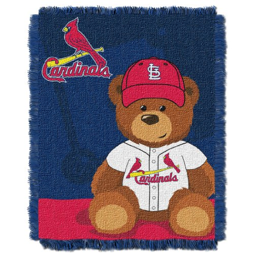 The Northwest Company MLB St. Louis Cardinals Field Bear Woven Jacquard Baby Throw, 36