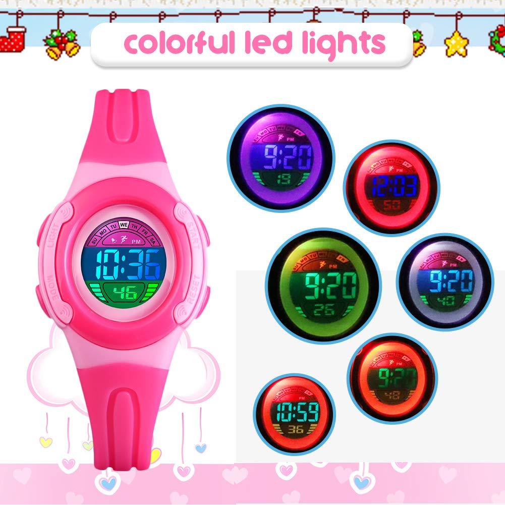BHGWR - Reloj Digital para niñas, Resistente al Agua, con cronómetro, Alarma, luz LED Colorida, para niños, Reloj Deportivo de Pulsera para niña, ...