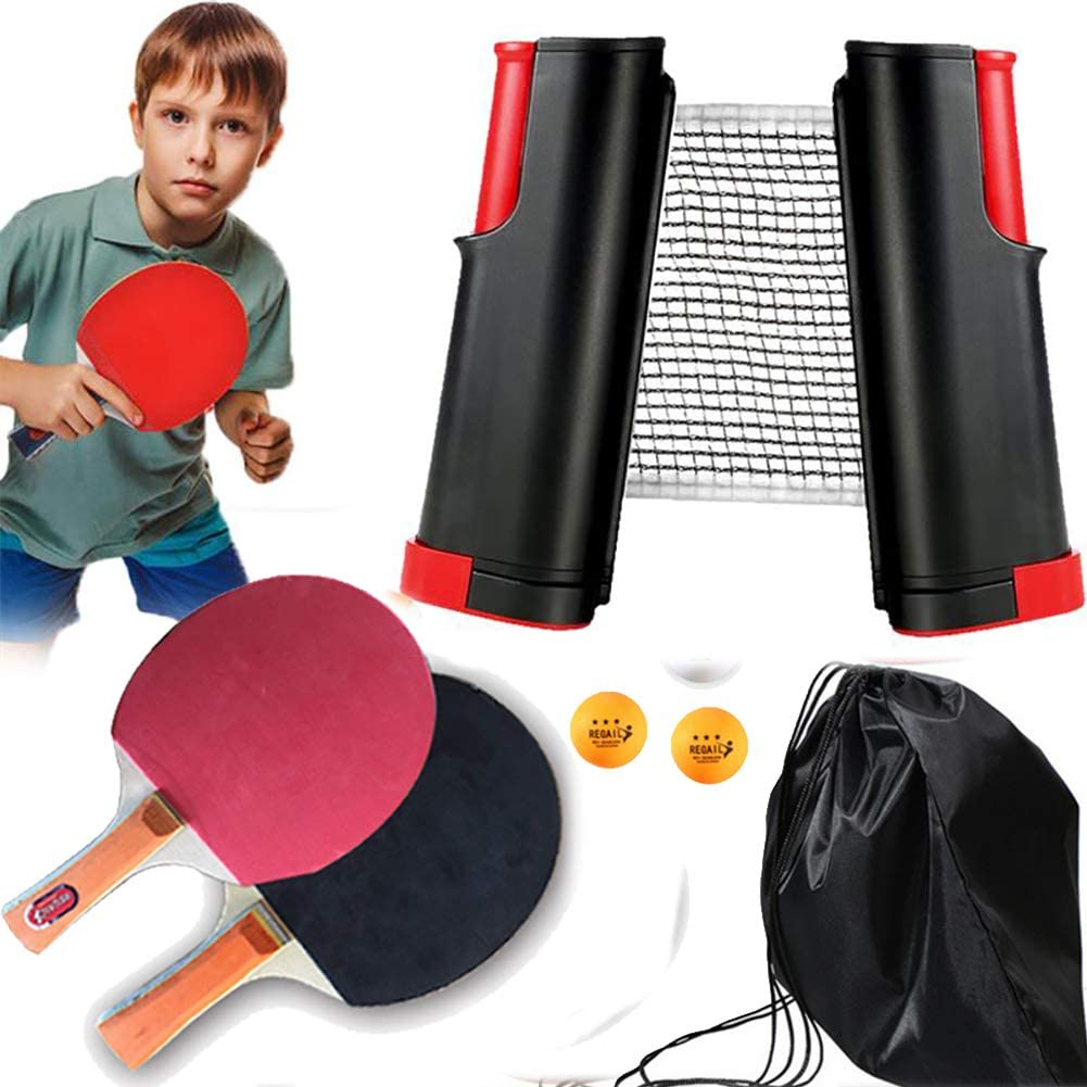 BCQ Table Tennis Set, Raqueta de Tenis de Mesa, Juego De Tenis De Mesa, Entrenamiento De Estudiantes, Equipo Deportivo (2 Raquetas + 4 Pelotas de Ping-Pong + Retráctil Table Tennis Net)