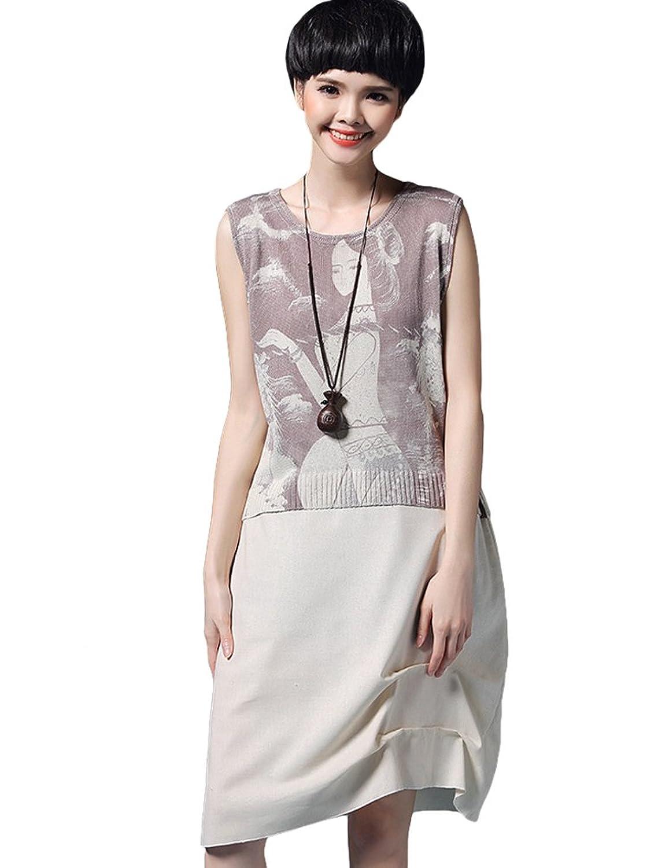 MatchLife Damen PulloverKleider Rundhals Ohne Arm Kleider