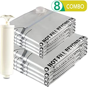 Jancosta 4 Jumbo and 4 Large Space Saver Bags, [8 Pack] Vacuum Storage Bags for Clothes (4-Jumbo and 4-Large)