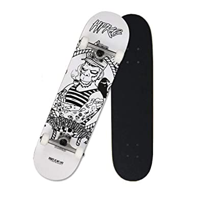 "QINGMM Skateboards for Beginners, Complete Skateboard 31.75"" 7.88"", 7 Layer Canadian Maple Double Kick Concave Standard and Tricks Skateboards for Beginners,A: Home & Kitchen"
