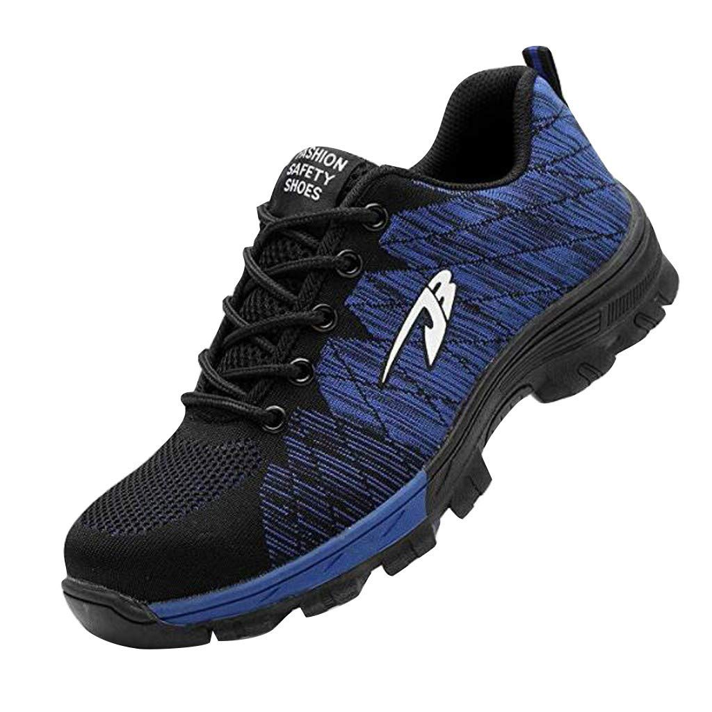 Work Sneakers for Men の Unisex Steel Toe Work Shoes Heavy Duty Safety Boots Anti-Piercing Anti-Smashing Plus Size 4-14 Blue by Sameno Street Sneakers