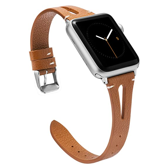 01b26c107 Wearlizer Brown Leather Compatible with Apple Watch Bands 38mm 40mm iWatch  Womens Mens Special Triangle Hole