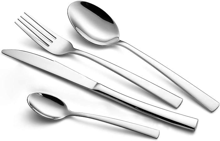 WUJO Set de Cubiertos, 16 Unidades Cubiertos de Acero Inoxidable/Juego de Cubiertos para 4 Personas, Incluye Cuchillo/Tenedor/Cuchara/Cucharilla de ...