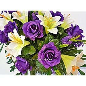 Easter Lilly & Purple Rose Cemetery Saddle for Grave Decoration at Easter or Mother's Day 5