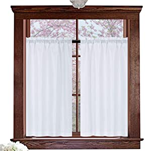 "Valea Home Water Repellent Tailored Tier Pair Curtains, Waffle Weave Textured Short Curtains for Bathroom, 72"" x 45"", White, Set of 2"
