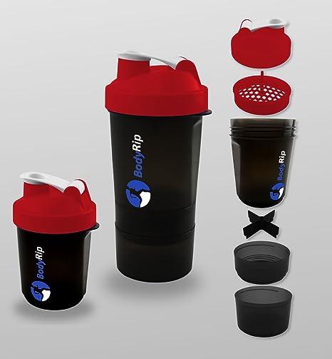 BodyRip – Proteína Coctelera 400 – 500 ml 3 Nivel mezclador, color rojo