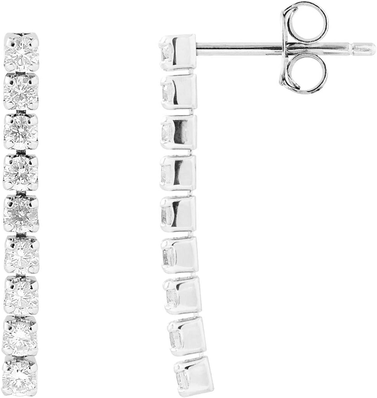 ESSENS – Pendientes colgantes – Riviero de diamantes – Plata maciza 925 milésimas – Sistema Cochecito Seguridad – Joya para mujer