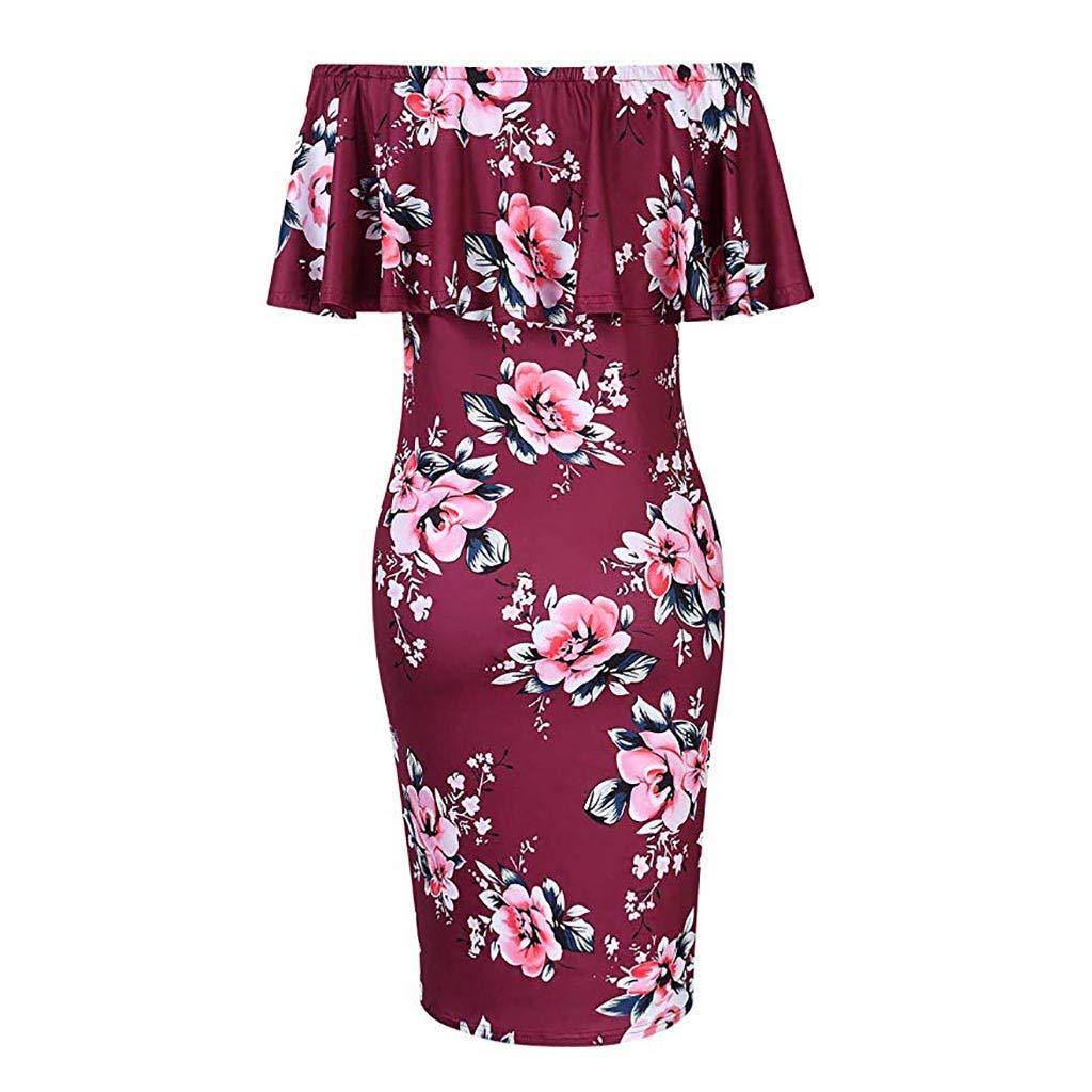 Damen Umstandskleid,Damen Mutterschaft Print Kleid Schulterfrei Casual Maxi-Kleid Mutterschaft Kleid Abendkleider F/ür Schwangere Sommerkleider Strandkleider Schwangerschaftskleid