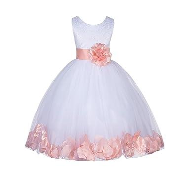 c64722849 Amazon.com  ekidsbridal Wedding Pageant Floral Lace top Rose Petals ...